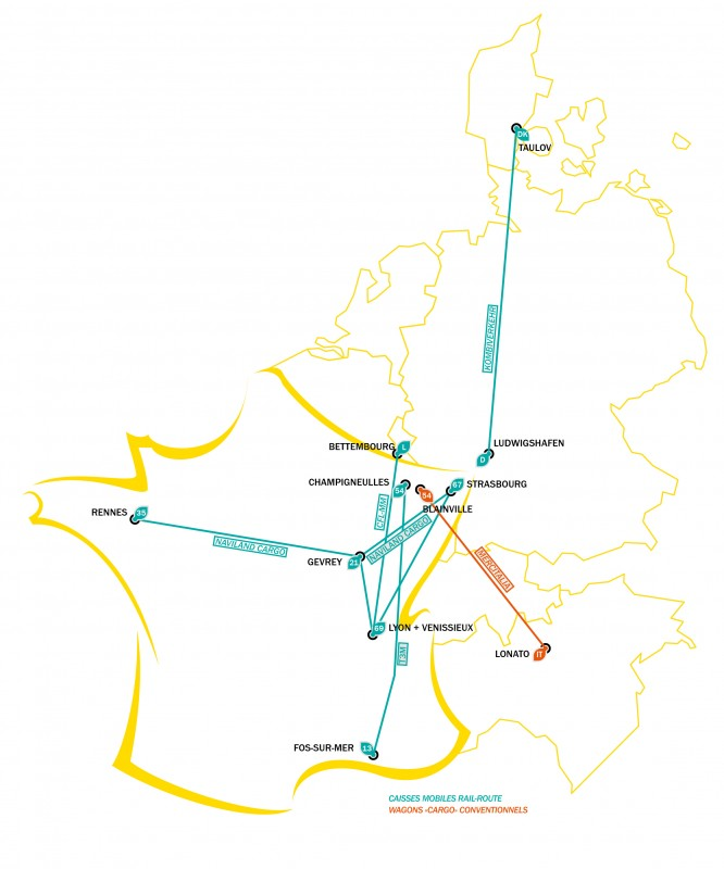 Carte Terminaux ferroviaires du groupe MGE