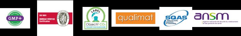 Logos des labels que nous respectons GMP+, ISO 9001, SQAS